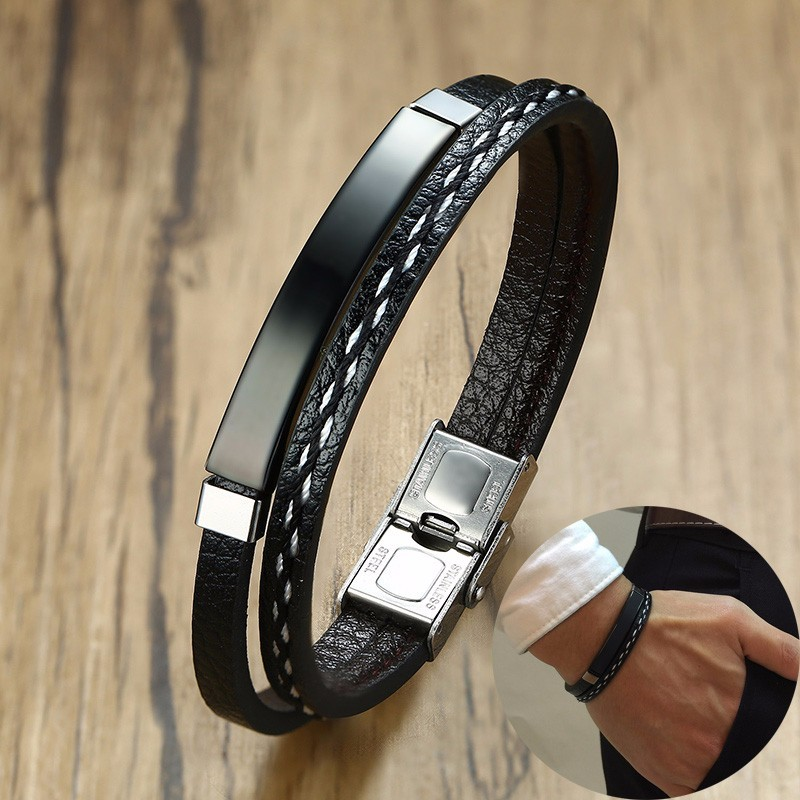 VNOX Customized Personalized Leather Stainless Steel ID Tag Double Wrap Cuff Bangle Bracelet Wristband