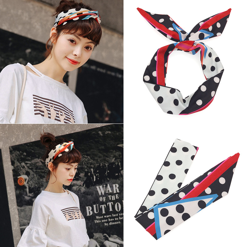 Korean-Style Korean POLKA DOT Spotty TIE Headscarf Headband Hair Band Retro 60s / 50s ROCKABILLY Head Scarf black friday