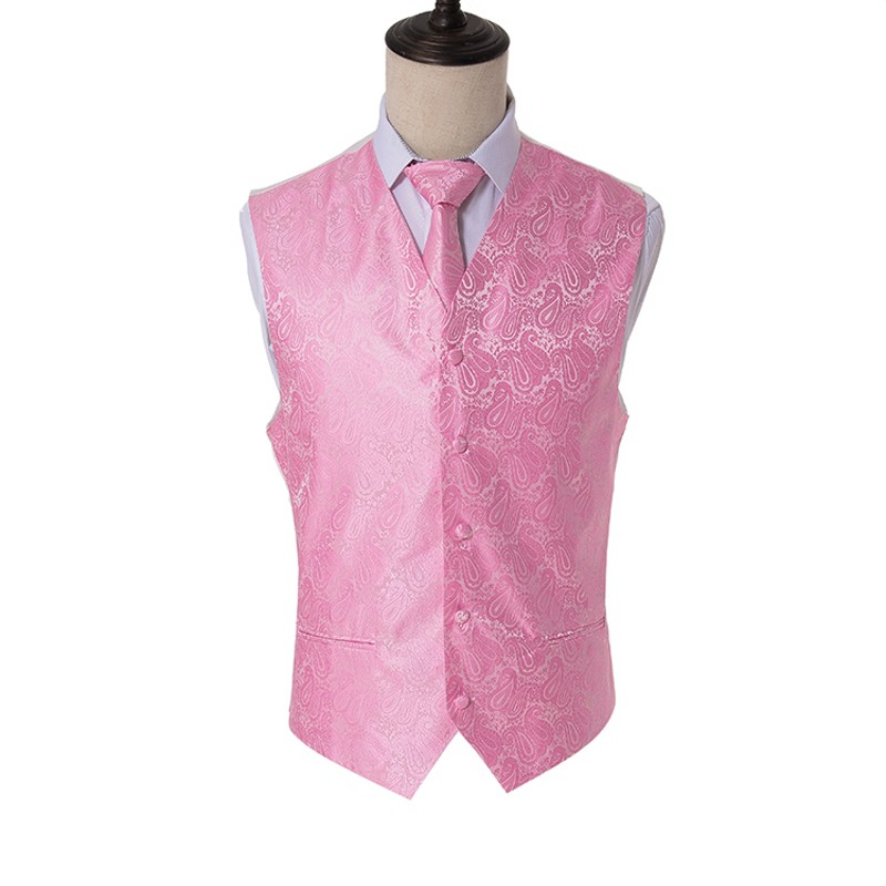 Men's Classic Pink Paisley Woven Slim Suit Waistcoat Vest Neck ties Handkerchief Party Wedding Tie vest Suit Pocket Square Set