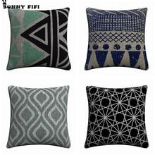 Black and White Nordic Germetric Decorative Pillow Covers For Sofa Home Decor Linen Cushion Case 45x45cm Throw Pillow Cases simple black and white moon night design sofa pillow case