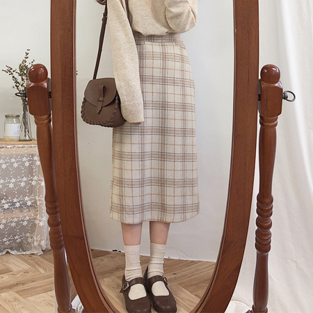 Vintage Plaid Women Skirts Autumn Plus Size Pencil Long Girls Skirt Female Vintage Warm Thick Skirts Winter Femme Faldas Mujer