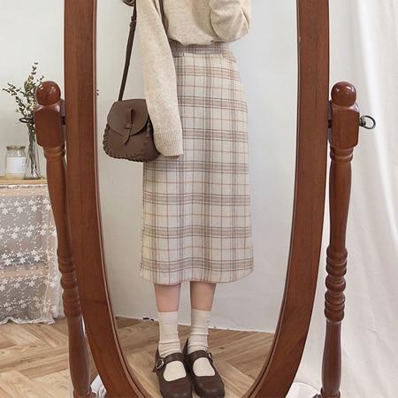 Vintage Plaid Women Skirts Autumn Plus Size Pencil Long Girls Skirt Female Vintage Warm Thick Skirts Winter Femme Faldas Mujer