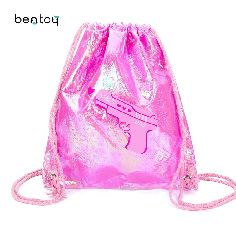 Fashion PVC Drawstring Bags For Women Candy Color Jelly Beach Bag Lovely Girls Travel Backpacks Shining Hologram Schoolbag