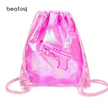 686068633d6c Fashion PVC Drawstring Bags For Women Candy Color Jelly Beach Bag Lovely Girls  Travel Backpacks Shining