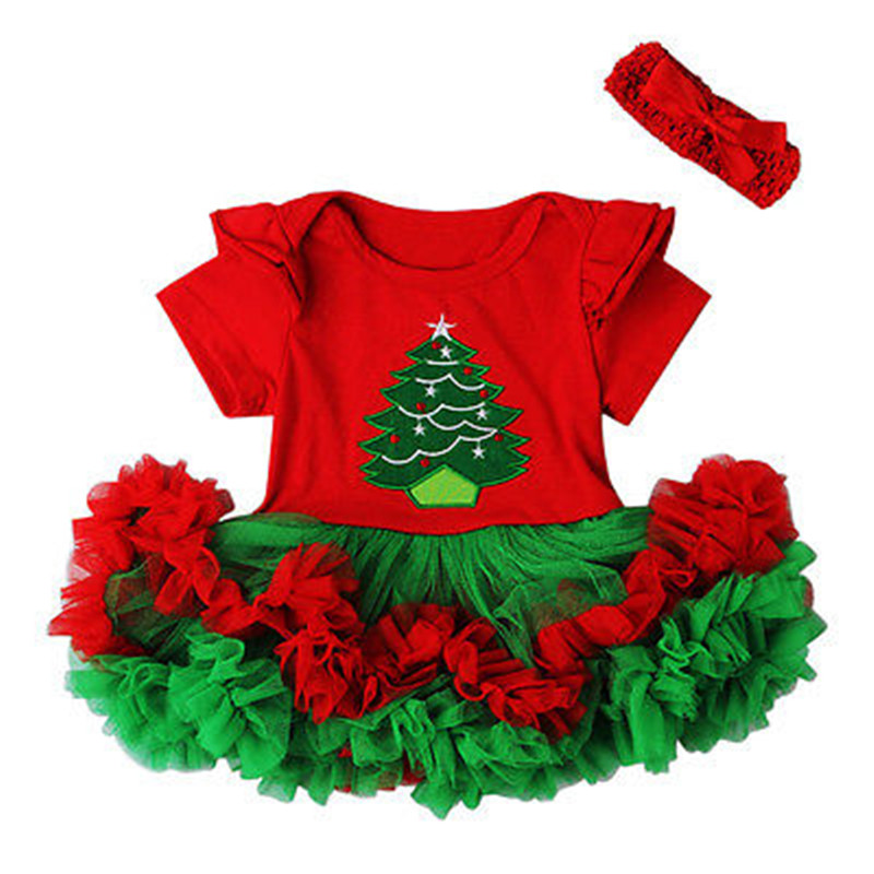 CANIS Weihnachten Neugeborenen Baby Mädchen Kleid Body Stirnband Set Tutu Druck Weihnachten Bebe Mädchen Party Kostüm Outfit Kleidung 0- 18M