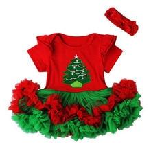 CANIS Christmas Newborn Baby Girl Dress Bodysuit Headband Set Tutu Print Xmas Be