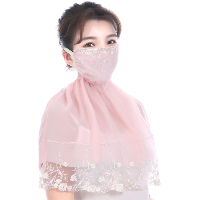 Summer Sunscreen Mask Neck Outdoor Riding Lace Shawl Sunshade Mask Embroidery UV Protection Face Mouth Mask Neck Gaiter