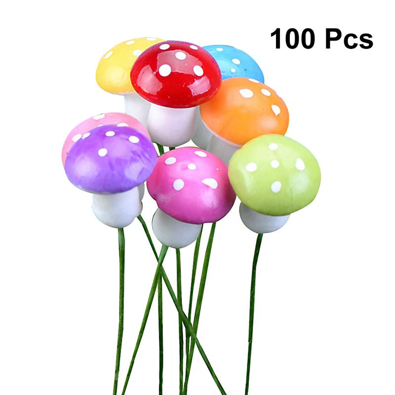 100PC Mini Foam Mushroom Garden Ornament Flower Pots Bonsai Micro Landscape Accessories Decoration