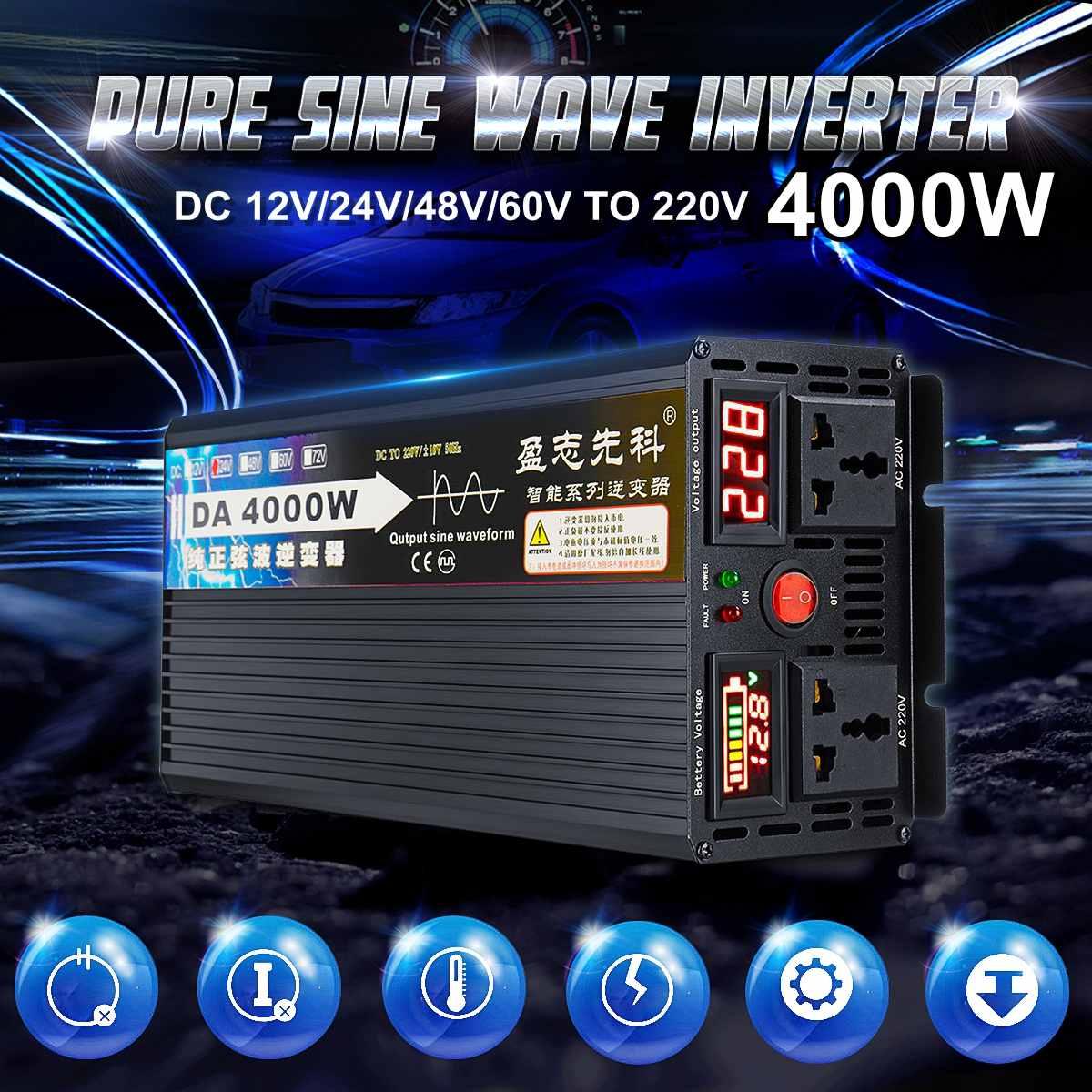 4000 Вт напряжение трансформатор Чистая синусоида солнечный мощность Инвертор DC 12 В 24 48 60 к AC 220 ЖК дисплей/светодиодный дисплей