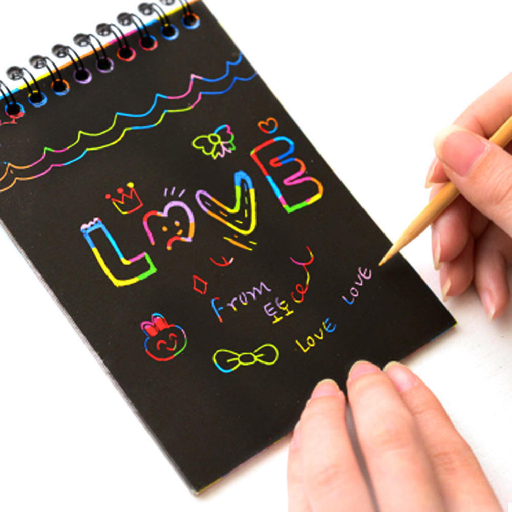 Children Painting Sticker Color Scratch Art Coloring Card Paper Scraping Graffiti Painting Drawing Book Office Stationery Supply