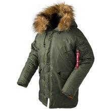21677a946e6 Новый N3B фугу зимняя куртка-пуховик Для мужчин Тактический длинные Canada  пальто военного меховой капюшон