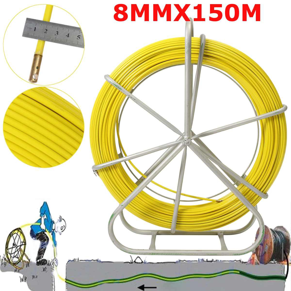 8mm 150M Fiberglass Wire Cable Running Rod Snake Fish Rodder Puller Flexi Lead Electric Fiberglass Wire Cable Running Rod Puller8mm 150M Fiberglass Wire Cable Running Rod Snake Fish Rodder Puller Flexi Lead Electric Fiberglass Wire Cable Running Rod Puller