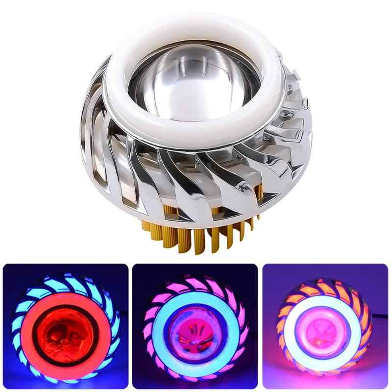 Hi/Lo Beam Motorcycle Headlight 12V-85V LED Fog Spot Head Light Moto Accessories Dual Halo Angel Devil Eye  Moto Projector Lamp