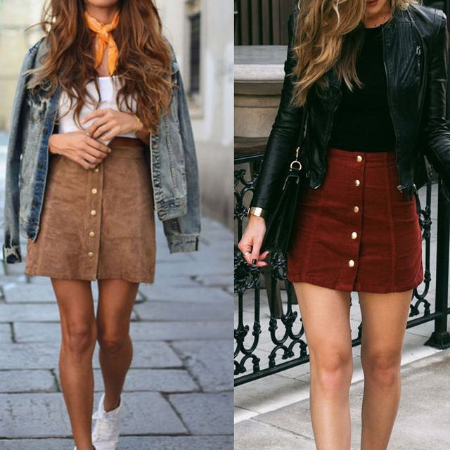 Fashion Elegant Women Ladies Summer Skirts High Waist Single Breasted Solid Slim A-Line Suede Leather Mini Skirts 2 Style