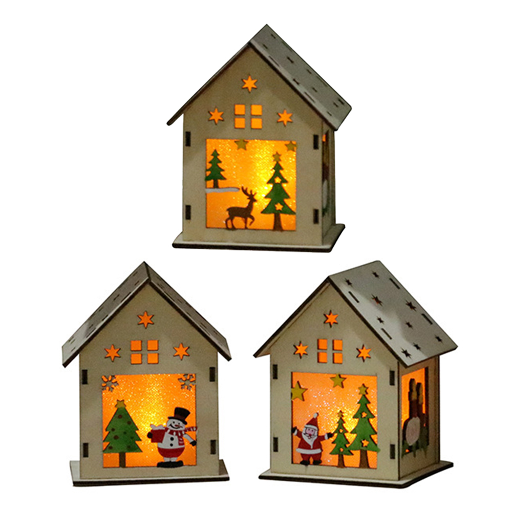 New DIY Wooden LED Light Wood HOUSE Cute Snowman, Santa Claus, Elk Christmas Tree Hanging Ornaments Holiday Decoration image