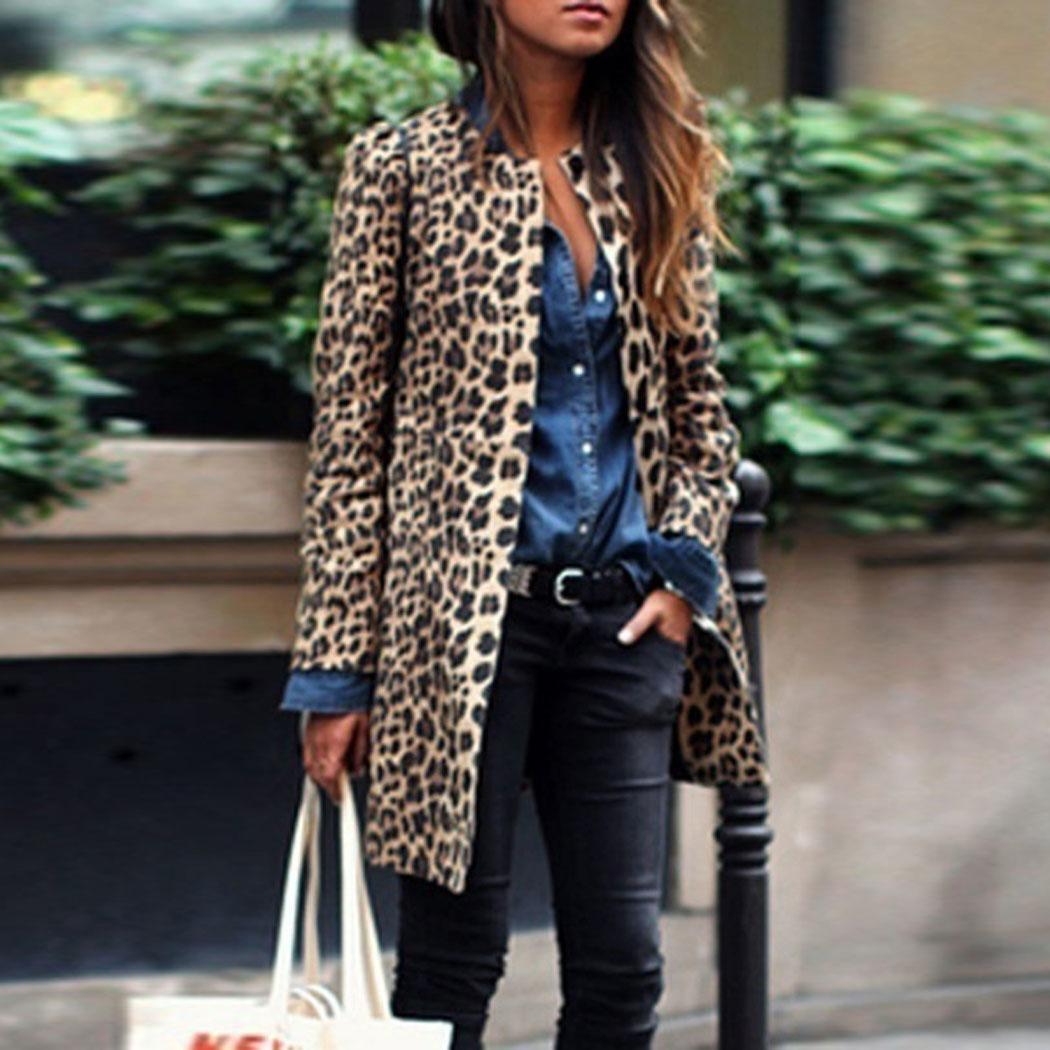 Women Fashion Leopard Print O Neck Long Above Knee Sleeve Long Unique style is fashionable Coat Casual Winter