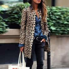 Women Fashion Leopard Print O Neck Long Above Knee Sleeve Long Unique style is fashionable