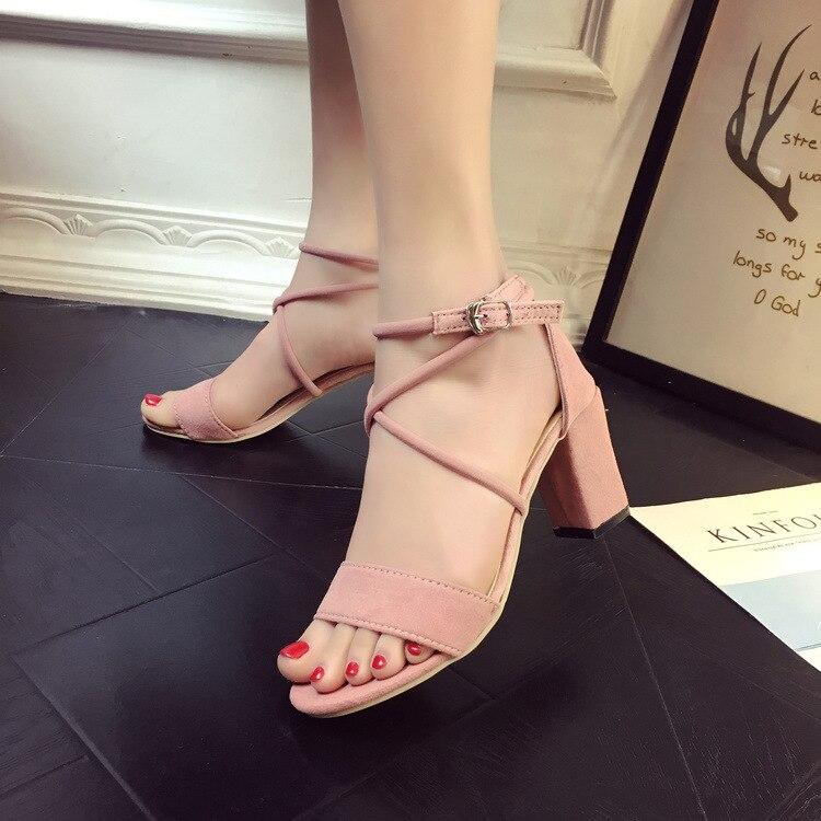 Roman Sandals Korean-Version Hollowed-Out-Belt Open-Toe High-Heels Thick Summer Ladies