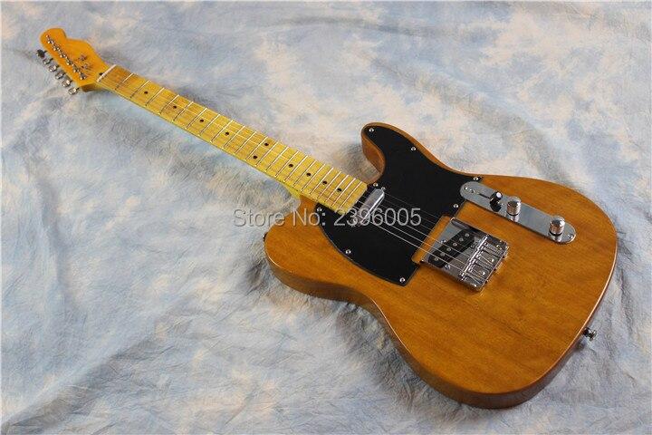 Société de guitare humaine, vente en gros de guitare Tele. Corps en acajou, finition jaune brillant transparent. Télé 52
