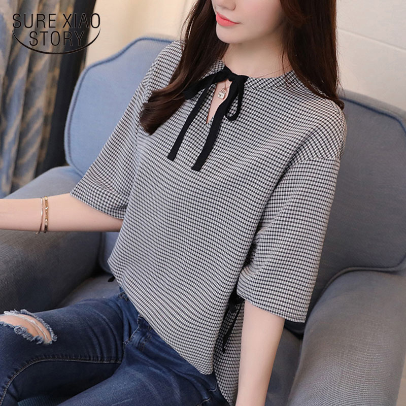Plus Size 2019 fashion plaid chiffon women   blouse     shirt   half sleeve womens tops and   blouses   casual women blusas feminine 0286 40