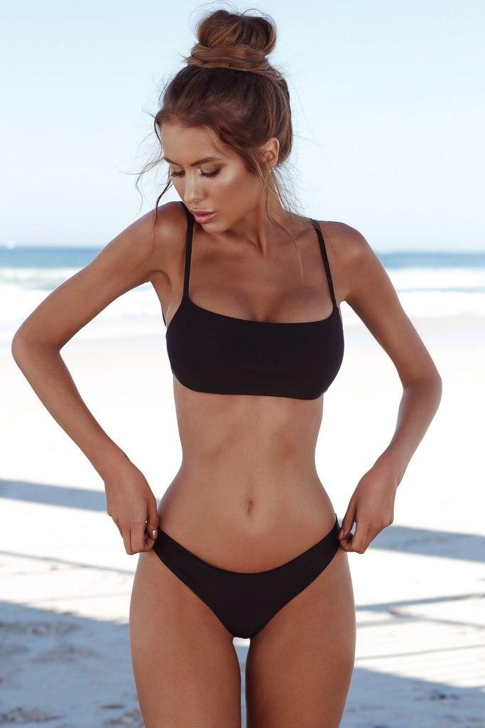 73f02d8599ca 2018 nuevo conjunto de Bikini sólido de verano para mujer push-up ...