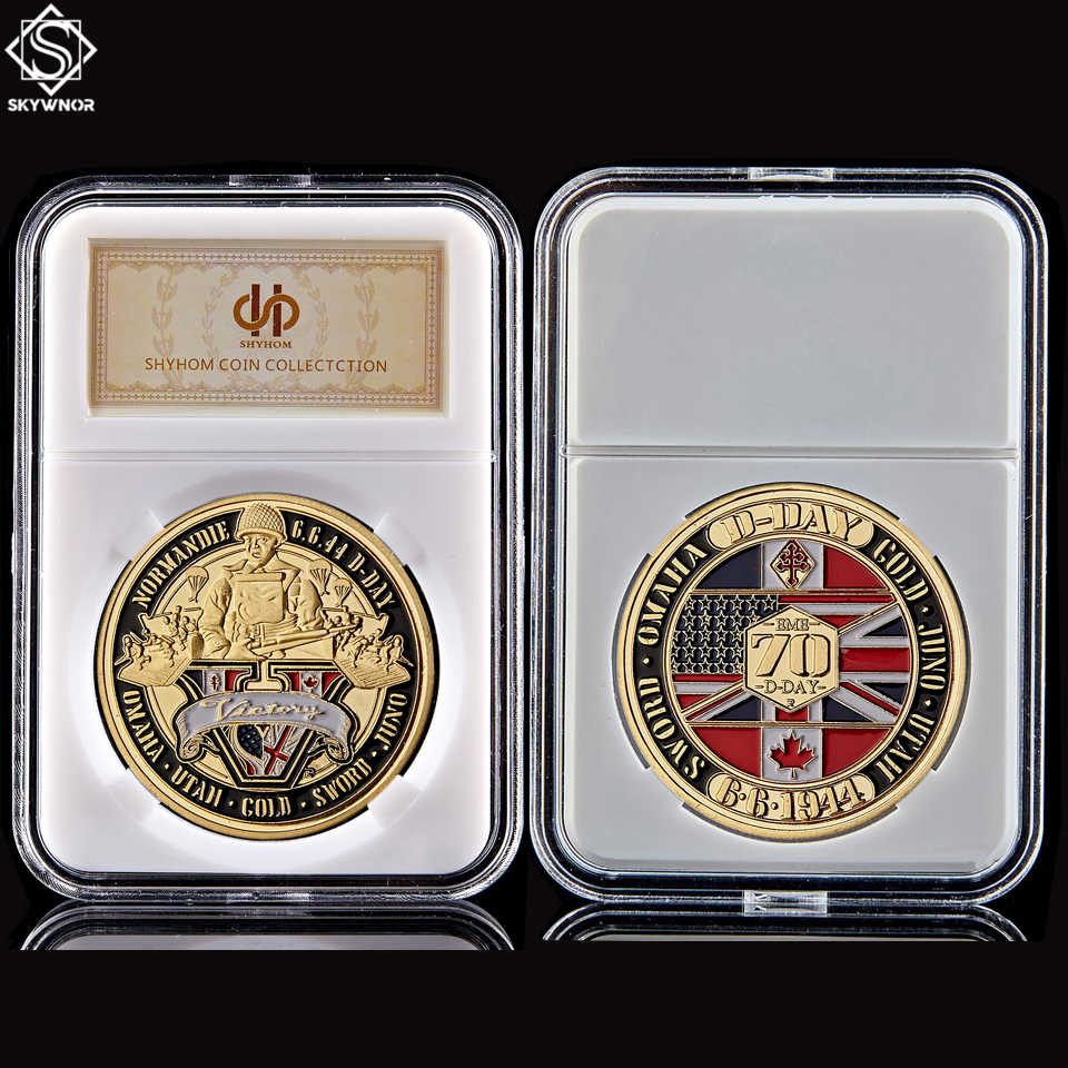 1944.6.6 D-Day WWII Normandie War Sword Omaha 70th Anniversary Gold Challenge Coins Collectibles With PCCB Display