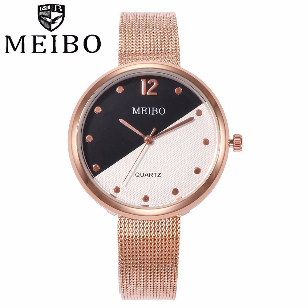 MEIBO Brand Women Stainless Steel Watch Casual Luxury Fashion Ladies Mesh Band Quartz Wrist Watch Female Clock Relogio Feminino