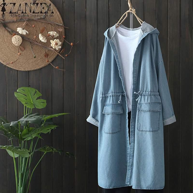 2019 Plus Size ZANZEA Spring Fashion Women Casual Solid Hooded Long Sleeve Denim Blue Party Long Cardigan Jackets Outwear Coat