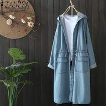 2019 Plus Size ZANZEA Spring Fashion Women Casual Solid Hooded Long Sleeve Denim Blue Party Long Car