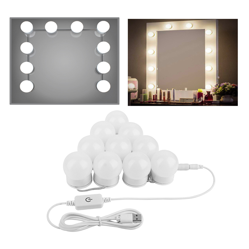 LED Vanity Mirror Lights Kit With Dimmable Light Bulbs Lighting Fixture Strip Hollywood Style Makeup Lamp 10 Bulbs