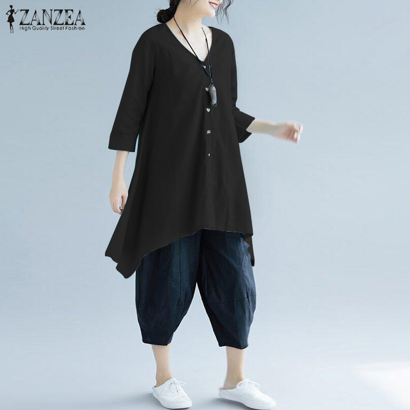 Women Blouse ZANZEA 2019 Spring Womens Solid Buttons Tops Casual Elegant Irregular Work Blusas Cotton Buttons Chemise Plus Size