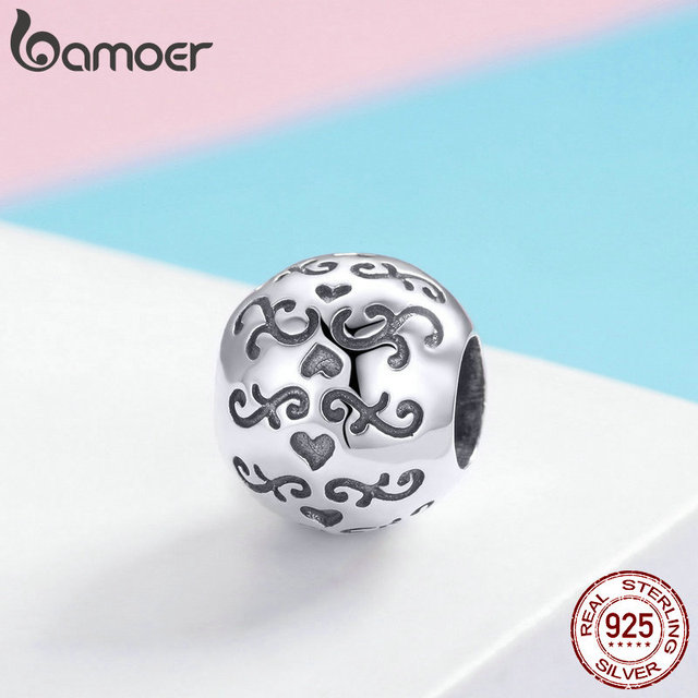BAMOER 925 Sterling Silver Love Beautiful life Round Circle Beads Charm fit Charm Bracelet DIY Jewelry Making Accessories SCC966