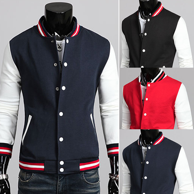 Pure colors single breasted Simple college varsity...
