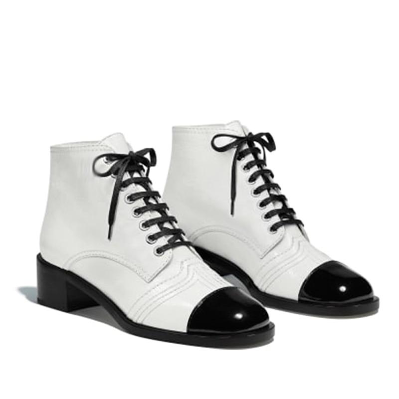 Blancos Invierno Las Botas Lujo La Mujeres White Genuino Zapatos Mujer Piel Para Vaca Cuero Blanca Tobillo Marca black De Pqvwg4