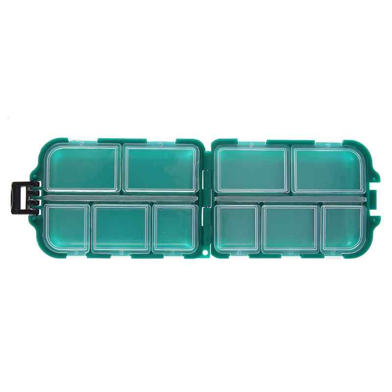Plastic Box Fishing Tackle Box Small Accessory Box  Storage Fishing Lure Bait Hook Square Fishhook Box with 10 Small Compartment