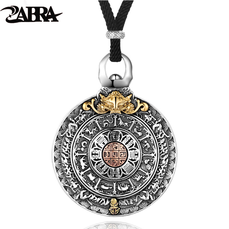 ZABRA Religion Authentic 925 Sterling Silver Round Necklace Pendant Men Chinese Zodiac Signs Vintage Pendants Jewelry For Male