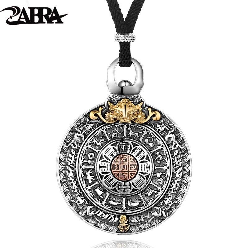 ZABRA Religion authentique 925 en argent Sterling collier rond pendentif hommes signes du zodiaque chinois pendentifs Vintage bijoux pour homme