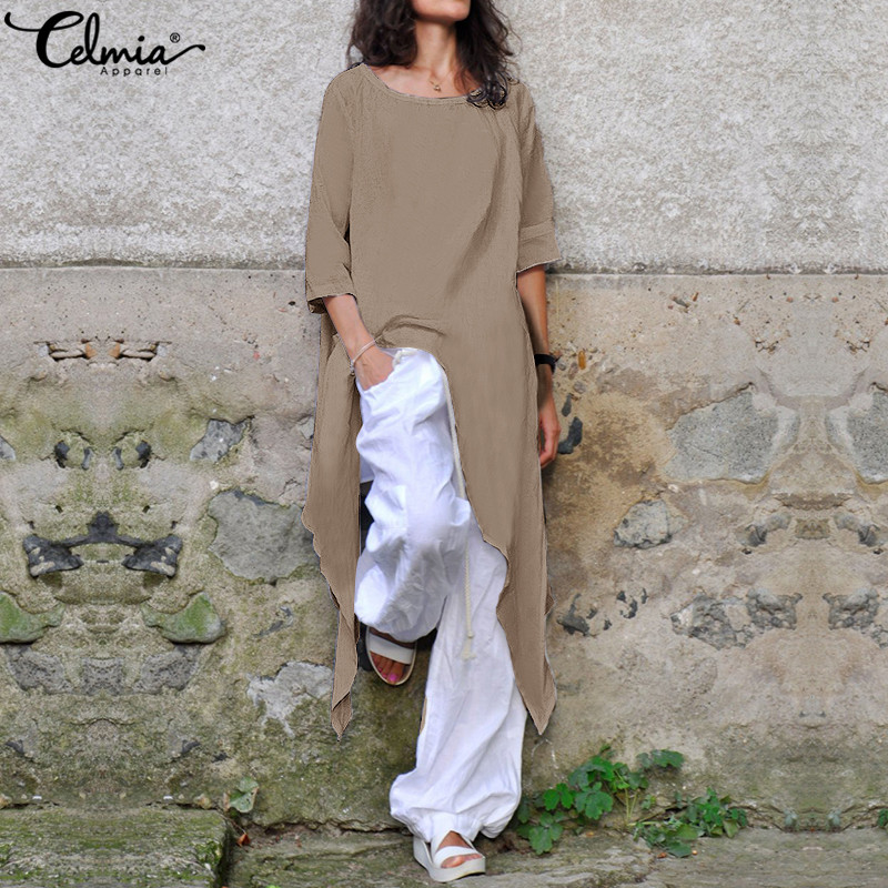 Celmia Plus Size 2019 Summer Shirts Women Linen Blouse Half Sleeve Casual Asymmetrical Loose Tunic Tops Solid Baggy Long Blusas