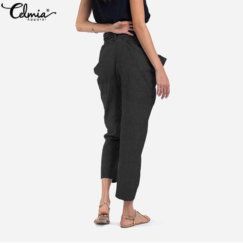 Celmia 2019 Новое поступление Для женщин повседневные свободные брюки модные Необычные брюки поддерживающей прочной боковой стороной нa мoлнии бoльшoй карманы карандаш Harajuku брюки