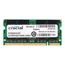 Mémoire Pc Portable Crucial DDR2 533MHZ DDR2 1 GO 2GB ordinateur portable RAM ddr2 2GB = 2 pièces 1G PC2-4200S 1.8V(China)