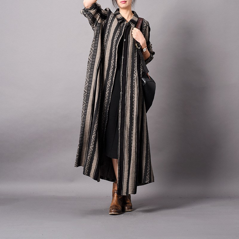Mince Long Patchwork Gris Lin Cardigans Femmes Coton Bande Femelle Pardessus Tranchée Printemps Dames 4Xx6gxBwq