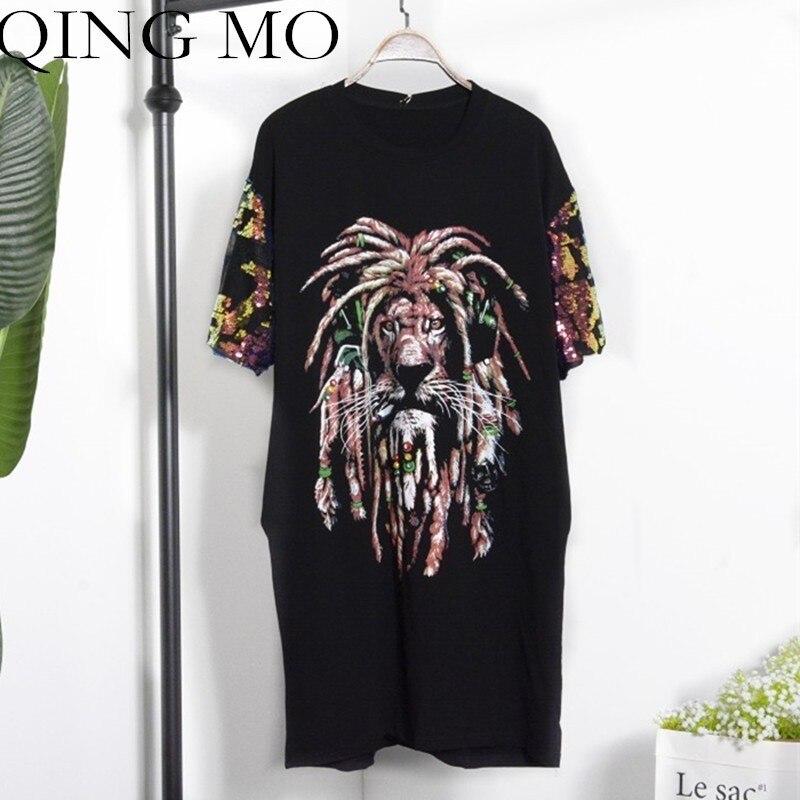 QING MO Lion Imprimer robe pour femmes Noir T Shirt Robes 2019 Été Paillette distributeur de nourriture Femmes Long Slim Mince tee-shirt QF701