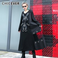 CHICEVER Black Dress For Women Long Sleeve Loose Big Size Cartoon Mesh Women's Dresses Female Clothes Fashion 2018 New