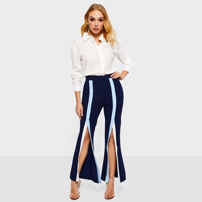La Primavera Mujeres Elegante Las Fondo Casuales Azul Bell Split Cintura De Sexy Rayas Calle Oscuro Hipster Alta Corea 2019 Pantalones Chica qEIBWxtfgw
