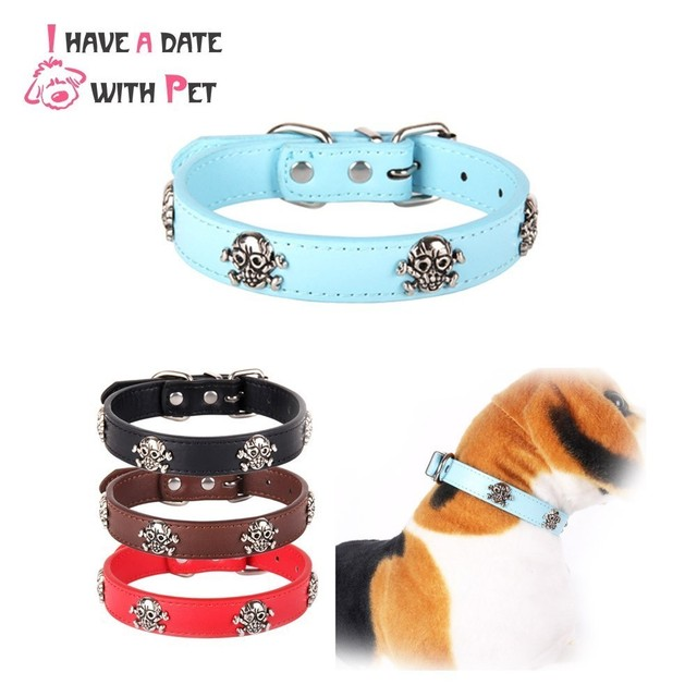 a0e24886f1fb I Have Date With Pet Leather Skull Dog Accessories Dog Collar Personalized  Cat Strap for Small Medium Dogs Red Blue Pet Supplies