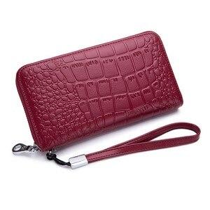 Image 5 - Womens Wallet Genuine Leather Wallet  Rfid 27 Card Holders Coin Purse Zipper Wallet For Women Кошелек portemonee vrouwen
