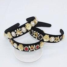 Jewel Headband Baroque Diamond Metal Jewelled Head Band Women Crystal Crown Rhinestone Hairband Hair Gold Flower