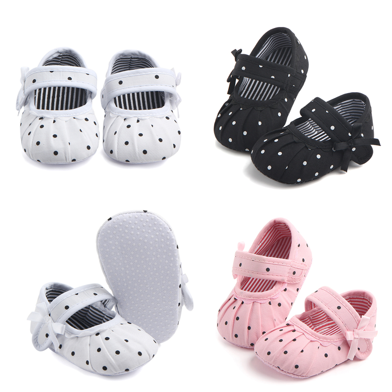 Newborn Baby Girls Canvas Crib Shoes Soft Sole Pram Prewalker Anti-slip Sneakers Dot Baby Casual Shoes