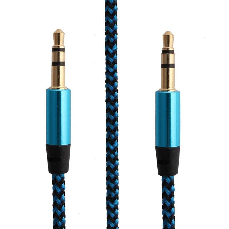 5 видов цветов 1 м нейлоновый Aux кабель 3,5 мм Штекерный автомобильный аудио кабель позолоченный шнур для iphone Xiaomi        АлиЭкспресс