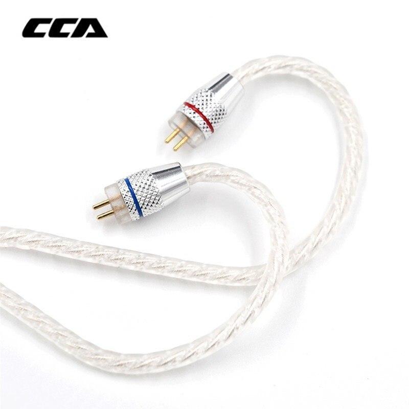 Cca prata chapeado atualizar cabo 3.5mm cabo de áudio 4 núcleo 2 pinos original fone de ouvido cabo diy para cca c10/c16/c04/kz zs3 zs6 zsa
